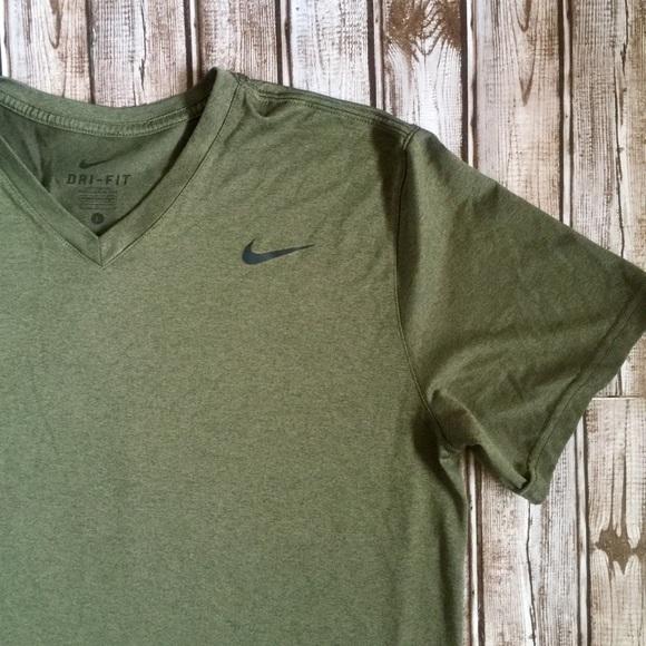 db2361fc Nike Shirts | Drifit Olive Short Sleeve Vneck Tshirt | Poshmark